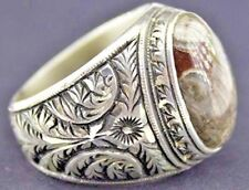 Sterling silver men ring handmade, jasper natural gemstone, steel pen crafts