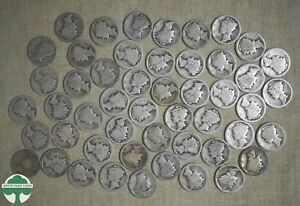 ROLL OF 1916-P CIRCULATED MERCURY DIMES WITH PROBLEMS - 50 COINS