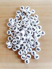 Zahlen Perlen zum Basteln/Schmuckherstellung ♥ Beads Spacer Basteln Deko Weiß