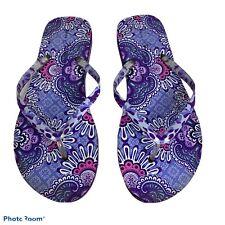 Vera Bradley Flip Flops Purple Paisley 9/10