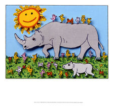 Have a nice Day PopArt Nashorn Sonne Vögel Kunstdruck Poster Plakat Rizzi 03