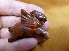 (Y-PEG-RU-570) Red PEGASUS WILD flying gemstone winged horse Figurine carving