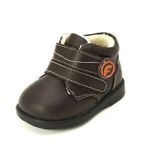 Freycoo Genuine Leather Kids Boys Boots Shoes Brown Szs: 5 7 9 10 11 12 PB8026BR
