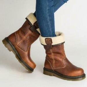 Womens Flats Heel Knight Cowboy Shoes Warm Fleece Lined Mid Calf Boots Round Toe