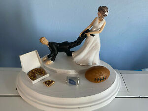 Bride Groom Wedding Cake Topper Funny Football team Themed with Pizza Beer