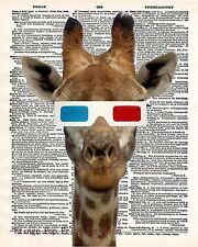 Giraffe 3D Glasses Art Print 8 x 10 - Dictionary Page - Kawaii - Pop Art Kitsch