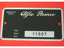 Targhetta ALFA ROMEO DUETTO SPIDER 1600 JUNIOR '72-'75