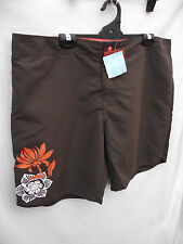BNWT Ladies Sz 16 Target Brand Chocolate Board Shorts With Pretty Floral Emblem