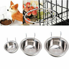 Hanging Feeding Dish Cat Pet Dog Puppy Stainless Steel Feeder Food Animals Bowl