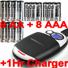 16 NiMH (8 AAA+8 AA) Rechargeable Batteries+1Hr Charger+USB and AC adapter