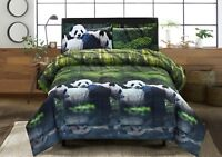 HIG 3D Panda Mom And Kids In Forest Printed Box Stiched Breathable Comforter Set