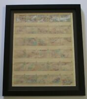 SERIES OF ABSTRACT PAINTING DRAWING 30 FRAMED MINIATURE MYSTERY ARTIST VINTAGE