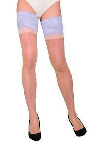 KATHERINE Elegant Sheer Plain Thigh High Stockings Wide Lace Gabriella