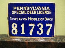 Vintage 1928 Pennsylvania PA Special Deer License #81737 Cobalt Blue Tin