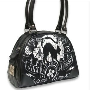 Liquor Brand Jinx Proof Classic Bowler Bag Purse Black Cat Bad Luck Gothic Punk