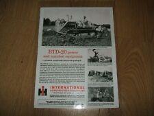 1962 INTERNATIONAL BTD-20 CRAWLER TRACTOR, SALES ADVERT (LAMINATED COPY)