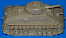 "TAN ARMY TANK MILITARY VEHICLE LOAD FOR MARX 6"" FLAT CAR. OLD REPRODUCTION"
