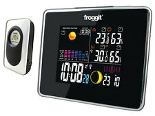 Funk Wetterstation Froggit WS50 Schwarz Full Color Display, Funkuhr, Wecker