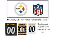 NFL Pittsburgh Steelers Jersey Kit Custom Lettering ANY YEAR Name Number UNSEWN