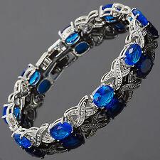 Wedding Blue Sapphire White Gold Plated Schmuck Jewelry Tennis Bracelet