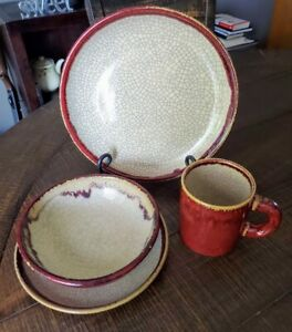 Pier One Pier 1 Crackle Collection 4 piece Dinner Setting Place Setting #2