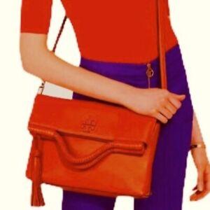 New Tory Burch Taylor Leather Crossbody Bag poppy orange convertible