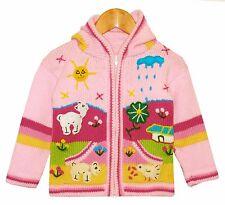 süße Kinder Strickjacke rosa pink gelb, Gr. 92*98, Kapuze, Peru Bauernhof Tiere
