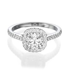 1 CT Diamond Engagement Ring Round Cut D/SI1 14K White Gold Enhanced