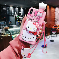 Hello Kitty Soft Sleeve Silicone Pink Case w/Grip Socket Stand for iPhone XS Max