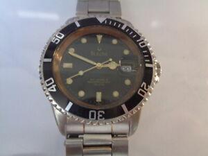 Bulova Diver Mens Watch Date Black Dial Automatic 2824-2 25jewels Full Size