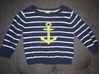 Carter's Baby Boy Infant Sweatshirt Nautical Blue/White Stripes Size 9 Months