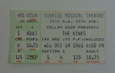 The Kinks at the Sunrise Musical Theatre Ticket Stub - 1981 Concert Collectible