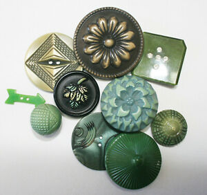 Vintage Buffed Celluloid Plastic Realistic Green Buttons