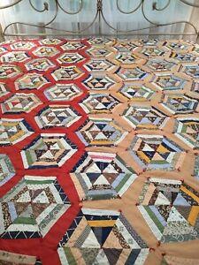 "VTG Homemade Hexagon Triangle Patchwork Quilt Multicolor Rustic Primitive 71x90"""