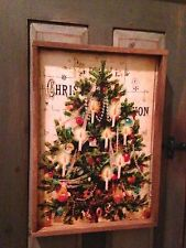CHRISTMAS TREE Distressed Frame in Tobacco Lath