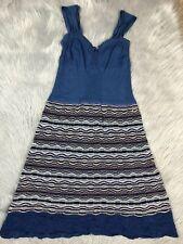 Missoni Womens Blue Multicolored Sleeveless Crochet Knit Summer Dress 42 US 6