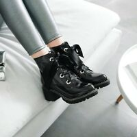 Combat Boots Block Heels Lace up Ladies Ankle Boots Autumn Casual Shoes Size New