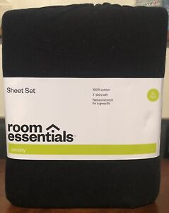 ROOM ESSENTIALS 3pc Solid Jersey Sheet Set - TWIN XL  - Black