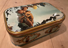 More details for large vintage french tin box with key cherubs grapes vines lid container storage