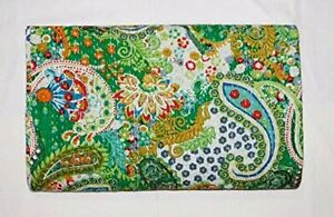Paisley Printed Kantha Quilt Twin Size Kantha Bedding Indian Cotton Bedspread