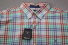 GANT USA Flag Logo Mens Alassio Bay Poplin Checker Dress Shirt NWT XXL  2XL $165