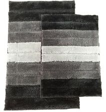 2 Piece High Top Striped Ombree Ultra soft Microfiber Bath rug set Black / Gray
