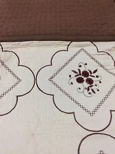 100% Cotton Beige Brown 3pcs. Embroidery King Quilt w/ 2 Pillow Shams Bedspread!