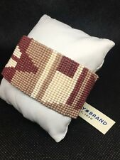 LUCKY BRAND Gold-Tone Rusty Red Seed Bead Wide Cuff Wrap Bracelet NWT $45 L@@K