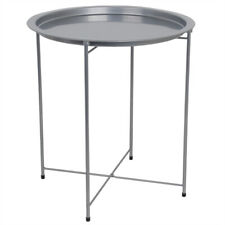 Foldable Round Multi-Purpose Side Accent Metal Table, Silver EBY65365