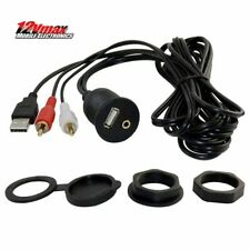 USB + 2 RCA to Female USB & 3.5 Aux Flush Mount Extension Cable Car Boat RV RZR