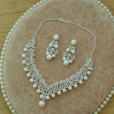 Bridal pearl and crystal necklace and earrings