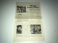 WAGON TRACKS WEST Movie Press Sheet Wild Bill Elliott Western Pressbook r50s
