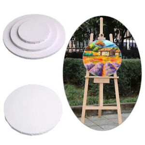 White Blank Panels Round Canvas Board Wooden Frame Art Artist Painting Craft B1A
