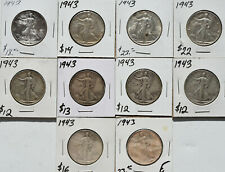 1943 50c Walking Liberty Half Dollar 10 Coin Lot Collection WWII Choice XF AU/BU